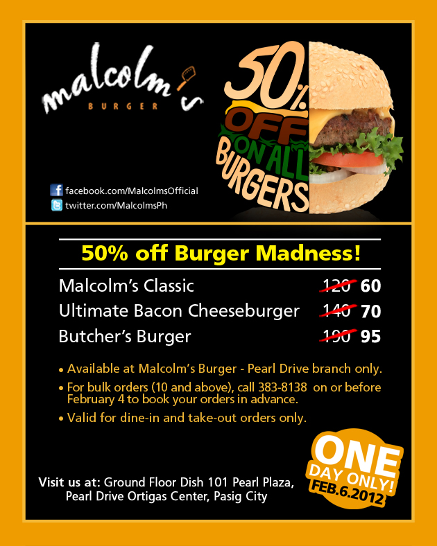 malcolms burger promo 2 Malcolms 50% Off Burger Madness!