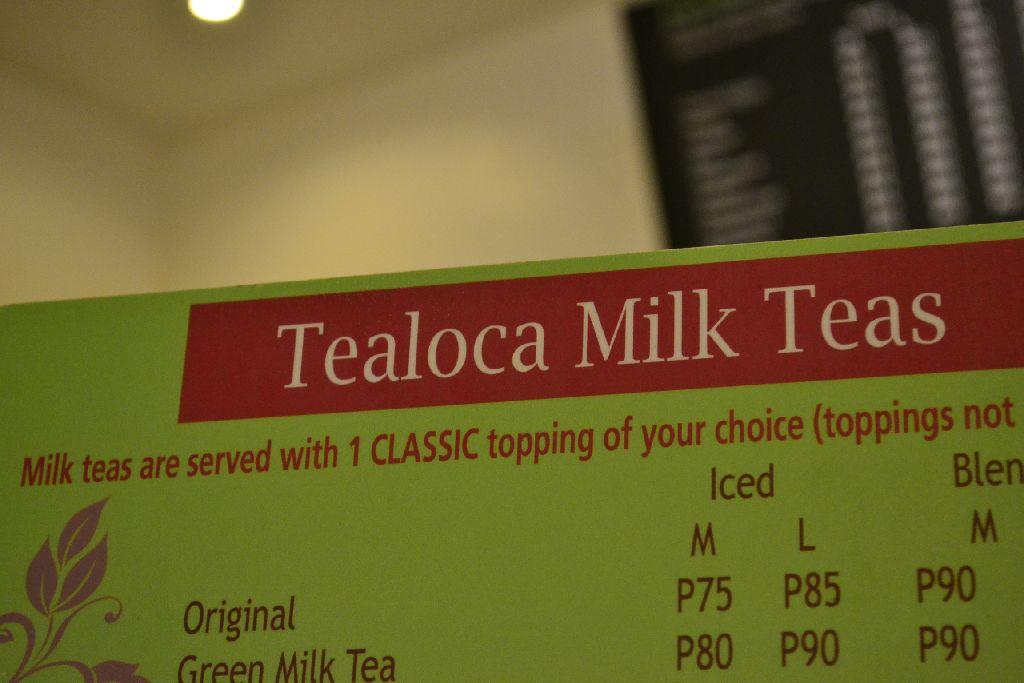 Tealoca Milk Teas - Menu